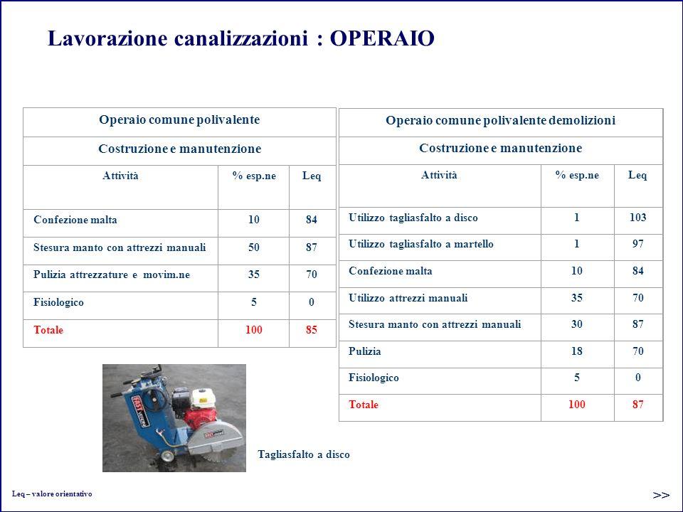 Lavorazione canalizzazioni : OPERAIO Operaio comune polivalente Costruzione e manutenzione Attività% esp.neLeq Confezione malta1084 Stesura manto con