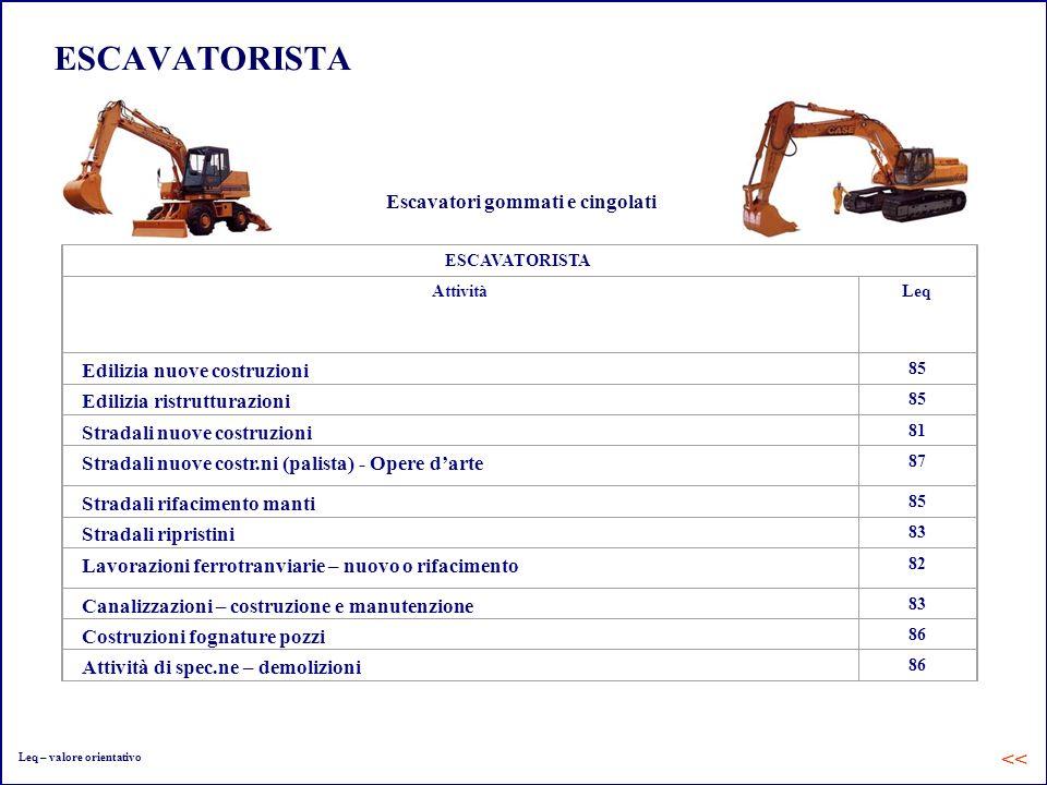 ESCAVATORISTA AttivitàLeq Edilizia nuove costruzioni 85 Edilizia ristrutturazioni 85 Stradali nuove costruzioni 81 Stradali nuove costr.ni (palista) -