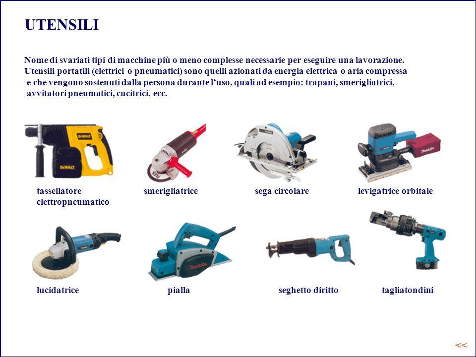 UTENSILI Nome di svariati tipi di macchine più o meno complesse necessarie per eseguire una lavorazione. Utensili portatili (elettrici o pneumatici) s