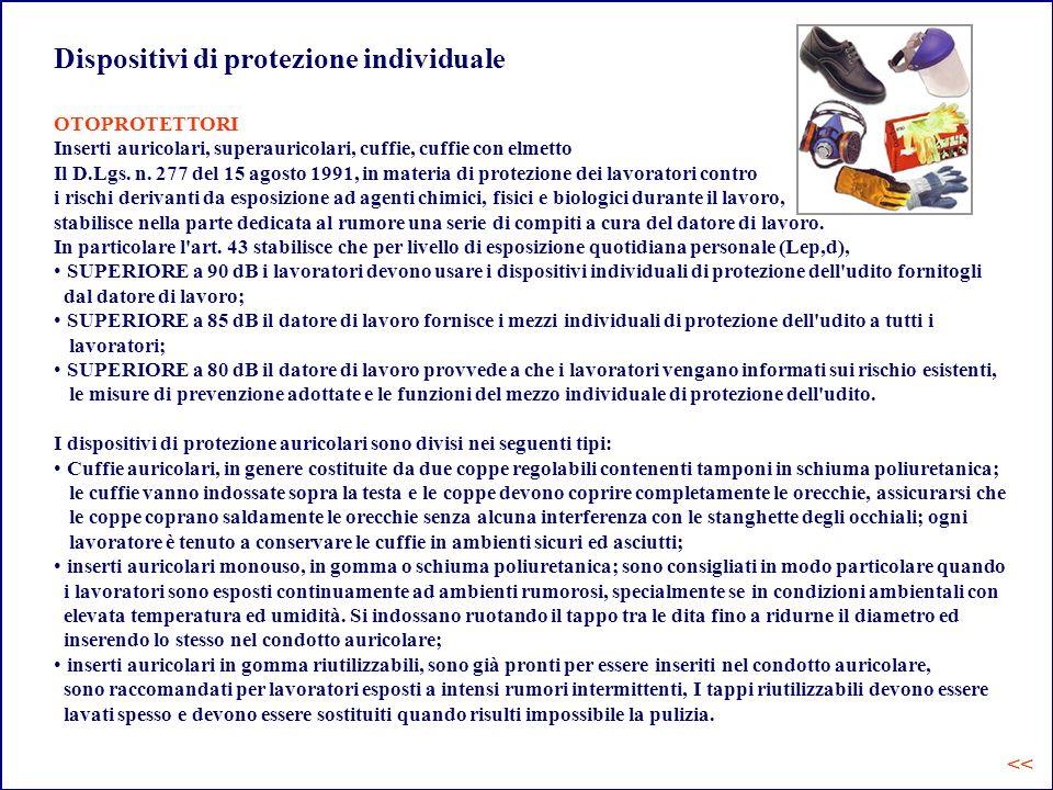 Dispositivi di protezione individuale OTOPROTETTORI Inserti auricolari, superauricolari, cuffie, cuffie con elmetto Il D.Lgs. n. 277 del 15 agosto 199