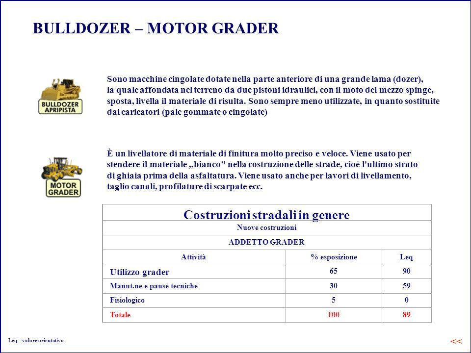 BULLDOZER – MOTOR GRADER Sono macchine cingolate dotate nella parte anteriore di una grande lama (dozer), la quale affondata nel terreno da due piston