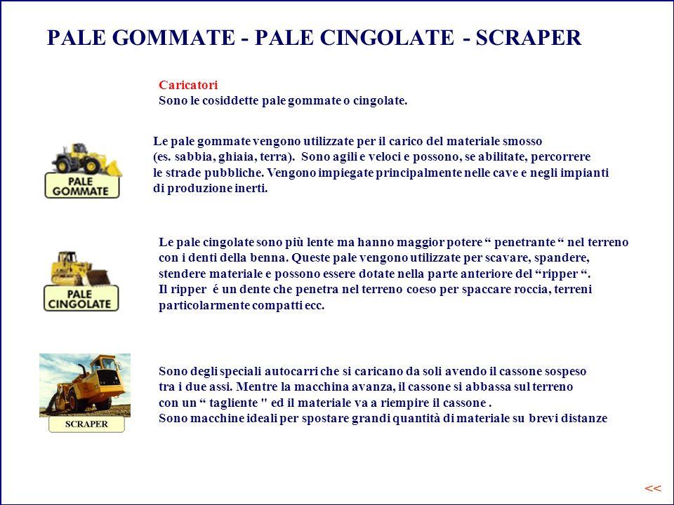 PALE GOMMATE - PALE CINGOLATE - SCRAPER Le pale gommate vengono utilizzate per il carico del materiale smosso (es. sabbia, ghiaia, terra). Sono agili
