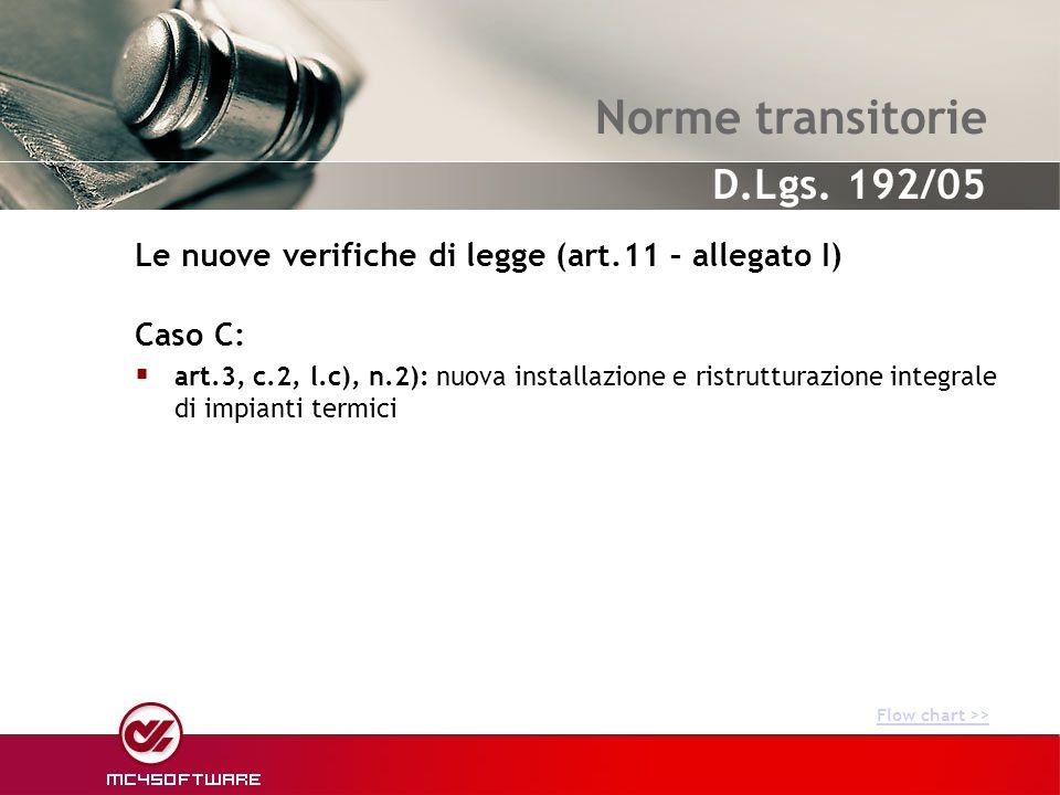 Norme transitorie Caso C: art.3, c.2, l.c), n.2): nuova installazione e ristrutturazione integrale di impianti termici Le nuove verifiche di legge (ar