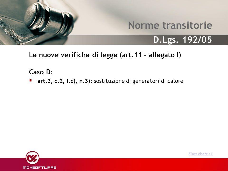 Norme transitorie Caso D: art.3, c.2, l.c), n.3): sostituzione di generatori di calore Le nuove verifiche di legge (art.11 – allegato I) Flow chart >>