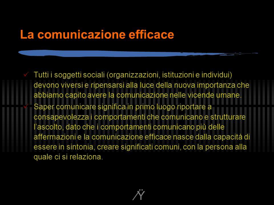 Ÿ La comunicazione efficace Tutti i soggetti sociali (organizzazioni, istituzioni e individui) devono viversi e ripensarsi alla luce della nuova importanza che abbiamo capito avere la comunicazione nelle vicende umane.