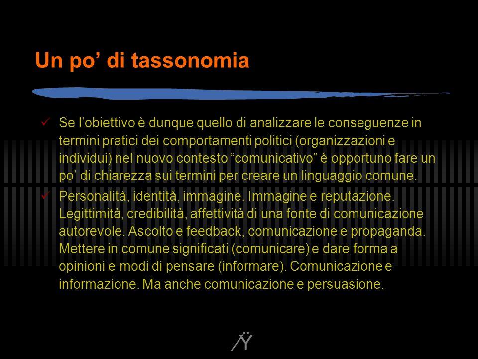 Ÿ Un po di tassonomia Se lobiettivo è dunque quello di analizzare le conseguenze in termini pratici dei comportamenti politici (organizzazioni e individui) nel nuovo contesto comunicativo è opportuno fare un po di chiarezza sui termini per creare un linguaggio comune.