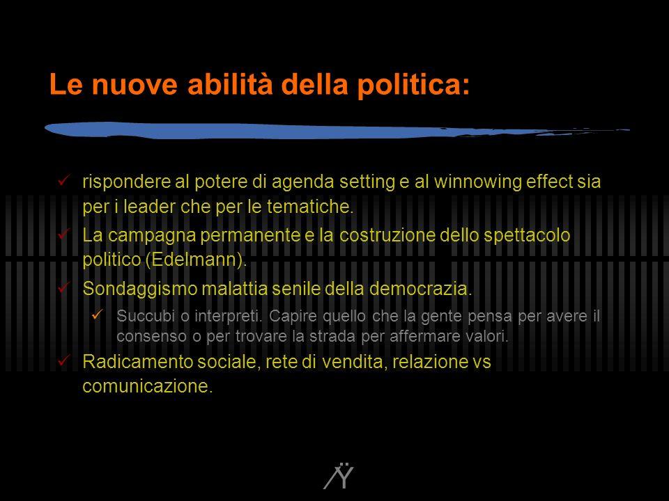 Ÿ Le nuove abilità della politica: rispondere al potere di agenda setting e al winnowing effect sia per i leader che per le tematiche.