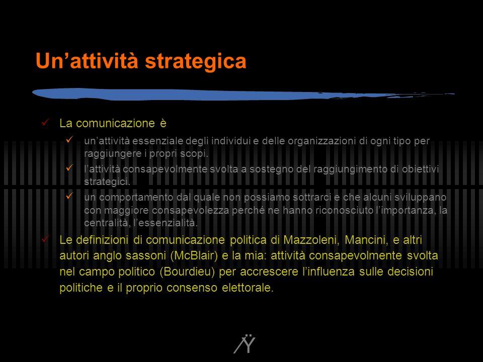 Ÿ Unattività strategica La comunicazione è unattività essenziale degli individui e delle organizzazioni di ogni tipo per raggiungere i propri scopi.