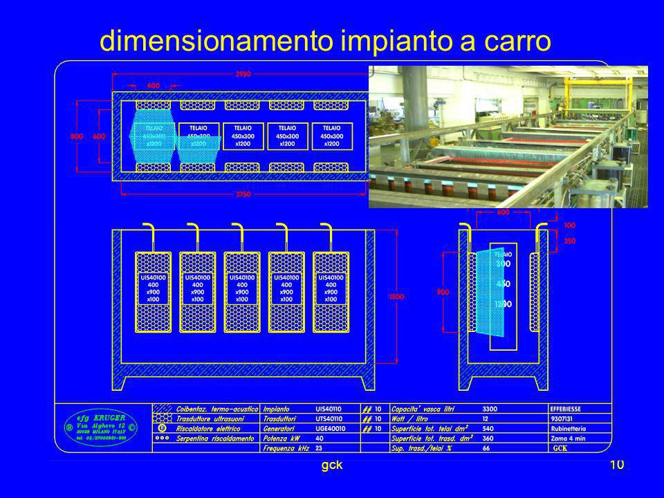 gck10 dimensionamento impianto a carro