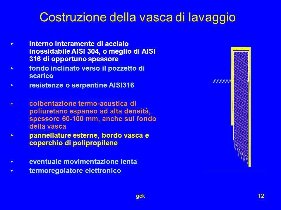 gck12 Costruzione della vasca di lavaggio interno interamente di acciaio inossidabile AISI 304, o meglio di AISI 316 di opportuno spessore fondo incli