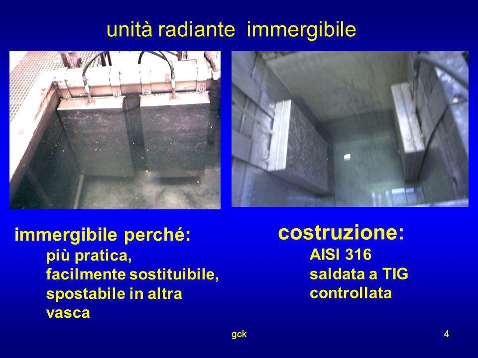 gck4 unità radiante immergibile immergibile perché: più pratica, facilmente sostituibile, spostabile in altra vasca costruzione: AISI 316 saldata a TI