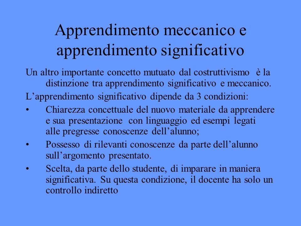 Apprendimento meccanico e apprendimento significativo Un altro importante concetto mutuato dal costruttivismo è la distinzione tra apprendimento significativo e meccanico.