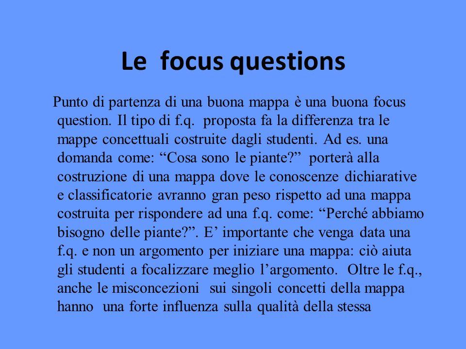 Le focus questions Punto di partenza di una buona mappa è una buona focus question.