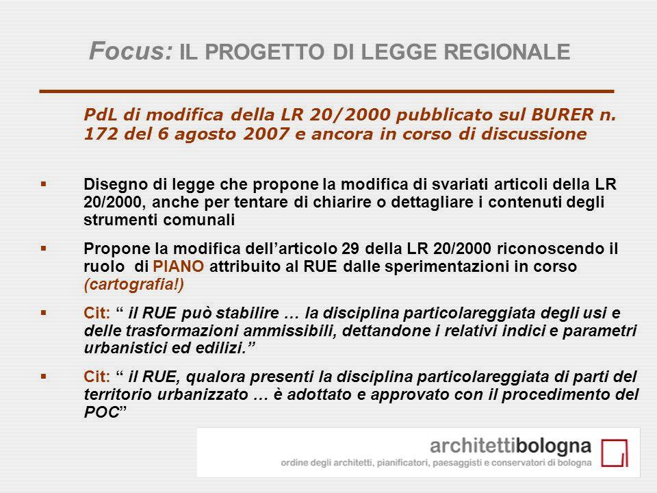13 PdL di modifica della LR 20/2000 pubblicato sul BURER n. 172 del 6 agosto 2007 e ancora in corso di discussione Disegno di legge che propone la mod