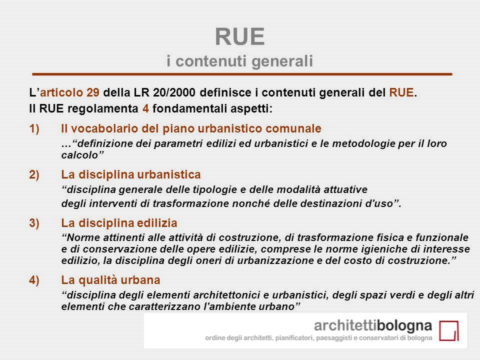5 RUE i contenuti generali Larticolo 29 della LR 20/2000 definisce i contenuti generali del RUE. Il RUE regolamenta 4 fondamentali aspetti: 1)Il vocab