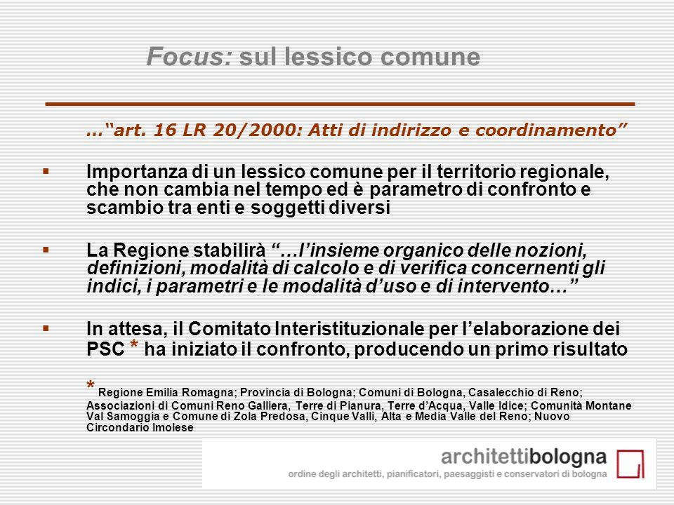 7 …art. 16 LR 20/2000: Atti di indirizzo e coordinamento Importanza di un lessico comune per il territorio regionale, che non cambia nel tempo ed è pa