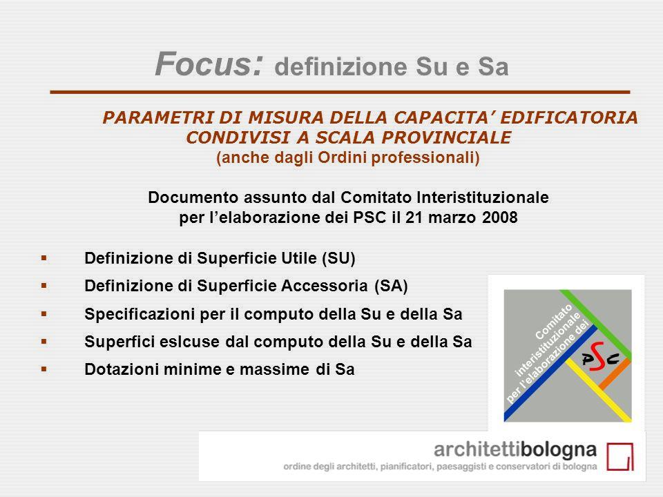 8 Focus : definizione Su e Sa PARAMETRI DI MISURA DELLA CAPACITA EDIFICATORIA CONDIVISI A SCALA PROVINCIALE (anche dagli Ordini professionali) Documen