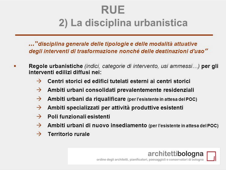 9 RUE 2) La disciplina urbanistica … disciplina generale delle tipologie e delle modalità attuative degli interventi di trasformazione nonché delle de