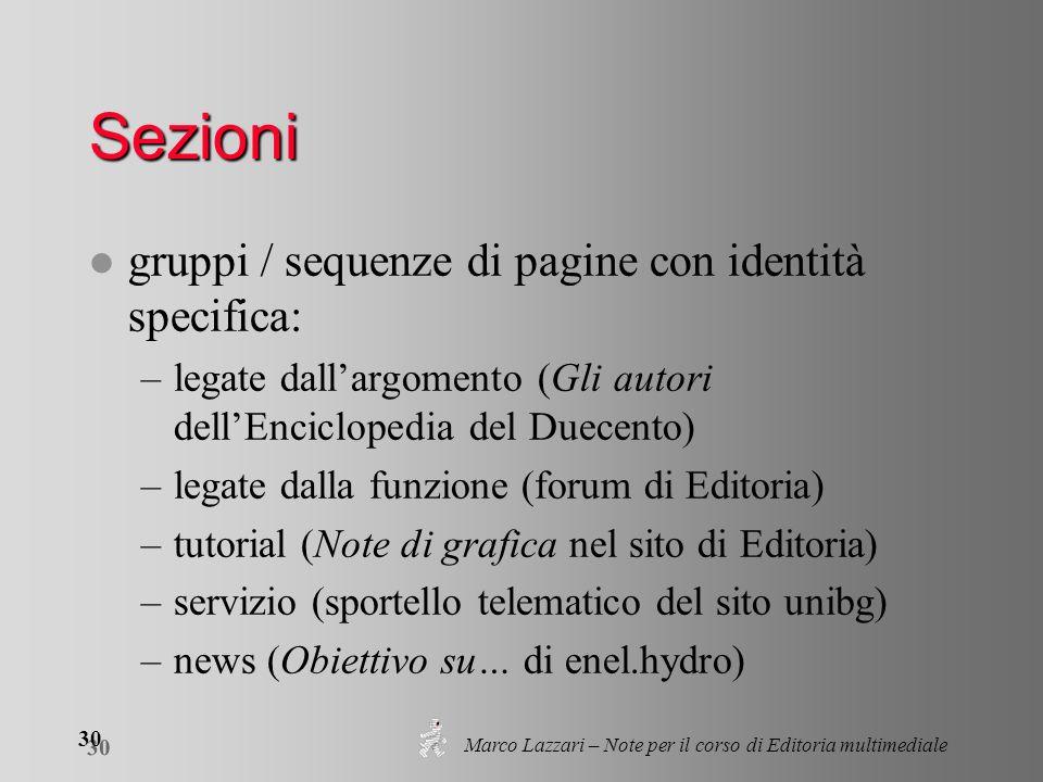 Marco Lazzari – Note per il corso di Editoria multimediale 30 Sezioni l gruppi / sequenze di pagine con identità specifica: –legate dallargomento (Gli