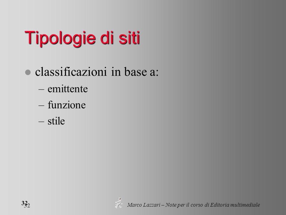 Marco Lazzari – Note per il corso di Editoria multimediale 32 Tipologie di siti l classificazioni in base a: –emittente –funzione –stile