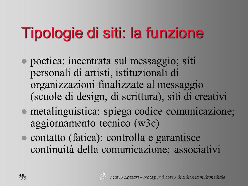 Marco Lazzari – Note per il corso di Editoria multimediale 35 Tipologie di siti: la funzione l poetica: incentrata sul messaggio; siti personali di ar