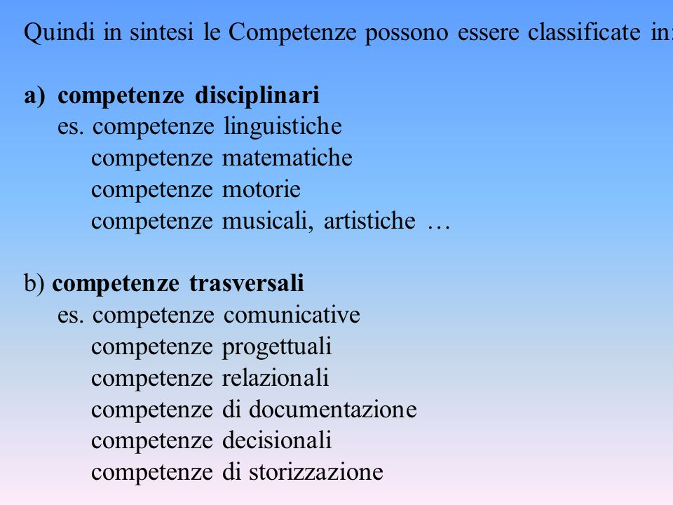 Quindi in sintesi le Competenze possono essere classificate in: a)competenze disciplinari es.