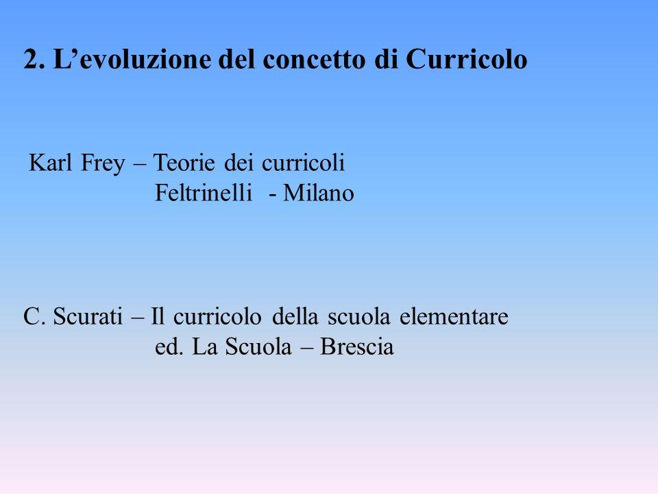 2. Levoluzione del concetto di Curricolo Karl Frey – Teorie dei curricoli Feltrinelli - Milano C.