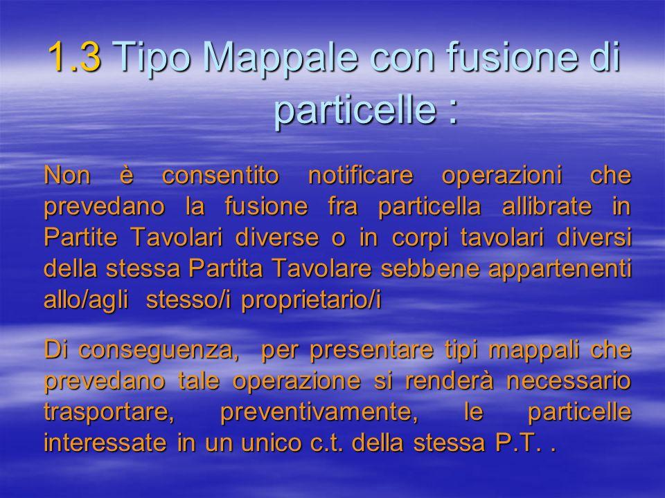 1.3Tipo Mappale con fusione di particelle : Non è consentito notificare operazioni che prevedano la fusione fra particella allibrate in Partite Tavola