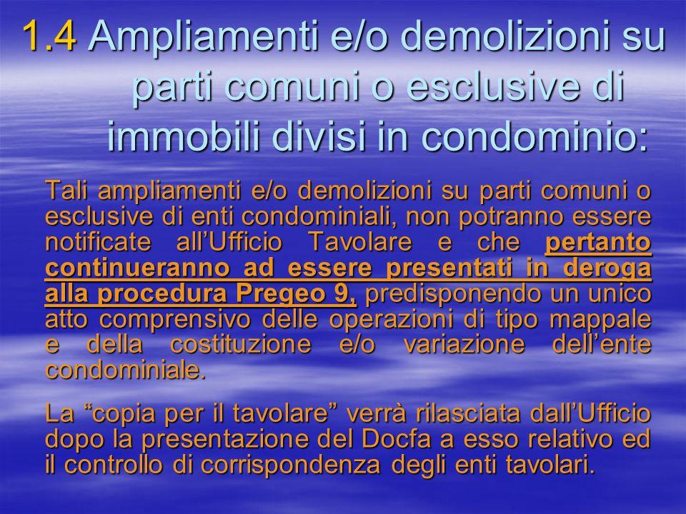 1.4Ampliamenti e/o demolizioni su parti comuni o esclusive di immobili divisi in condominio: Tali ampliamenti e/o demolizioni su parti comuni o esclus