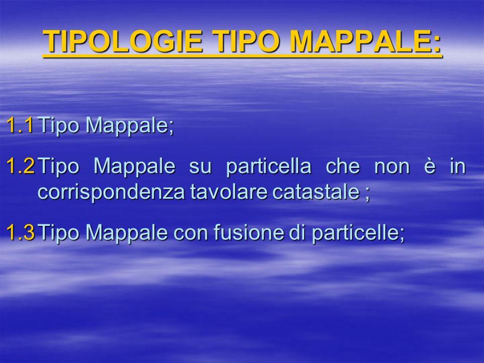 TIPOLOGIE TIPO MAPPALE: 1.1Tipo Mappale; 1.2Tipo Mappale su particella che non è in corrispondenza tavolare catastale ; 1.3Tipo Mappale con fusione di