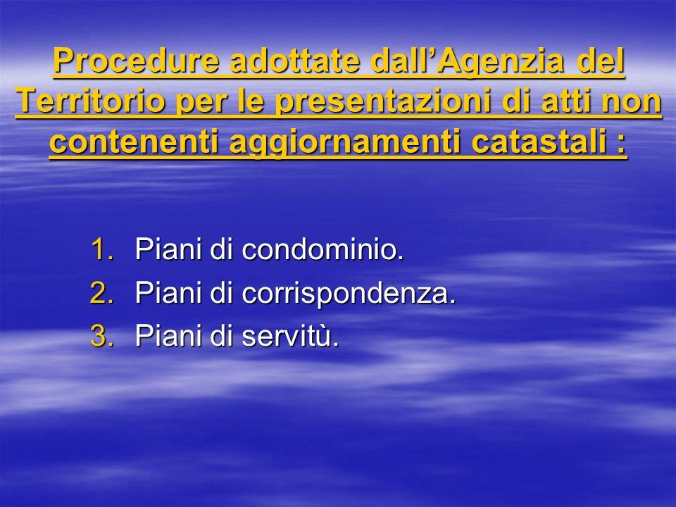 Procedure adottate dallAgenzia del Territorio per le presentazioni di atti non contenenti aggiornamenti catastali : 1.Piani di condominio. 2.Piani di
