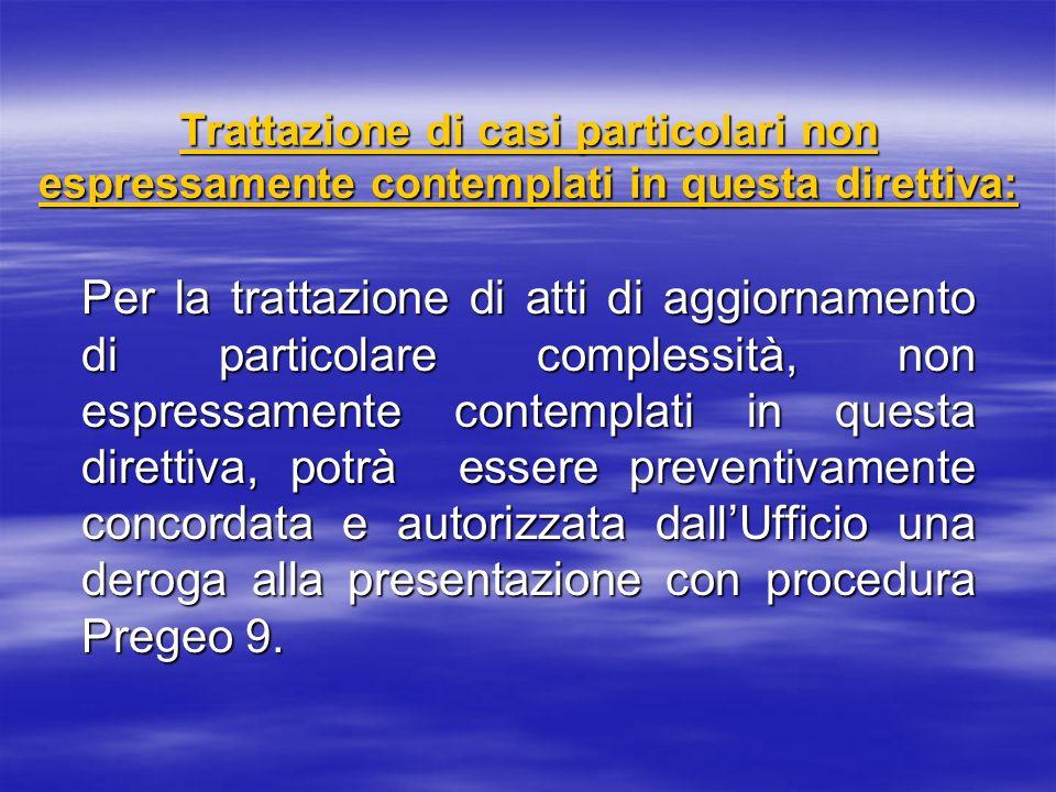 Trattazione di casi particolari non espressamente contemplati in questa direttiva: Per la trattazione di atti di aggiornamento di particolare compless