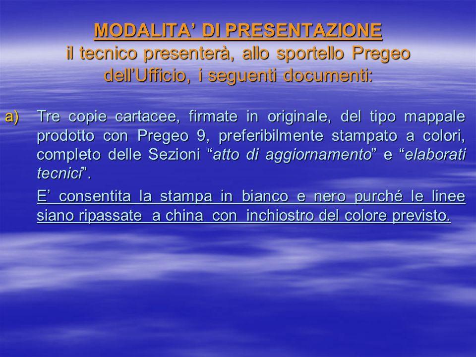 MODALITA DI PRESENTAZIONE il tecnico presenterà, allo sportello Pregeo dellUfficio, i seguenti documenti: a)Tre copie cartacee, firmate in originale,