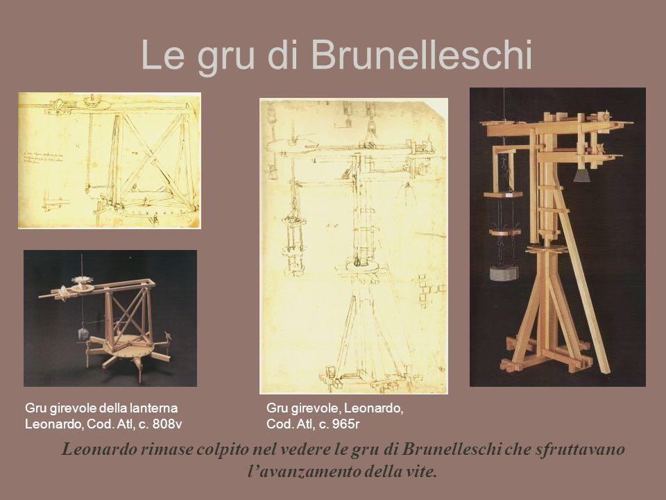 Le gru di Brunelleschi Gru girevole della lanterna Leonardo, Cod.