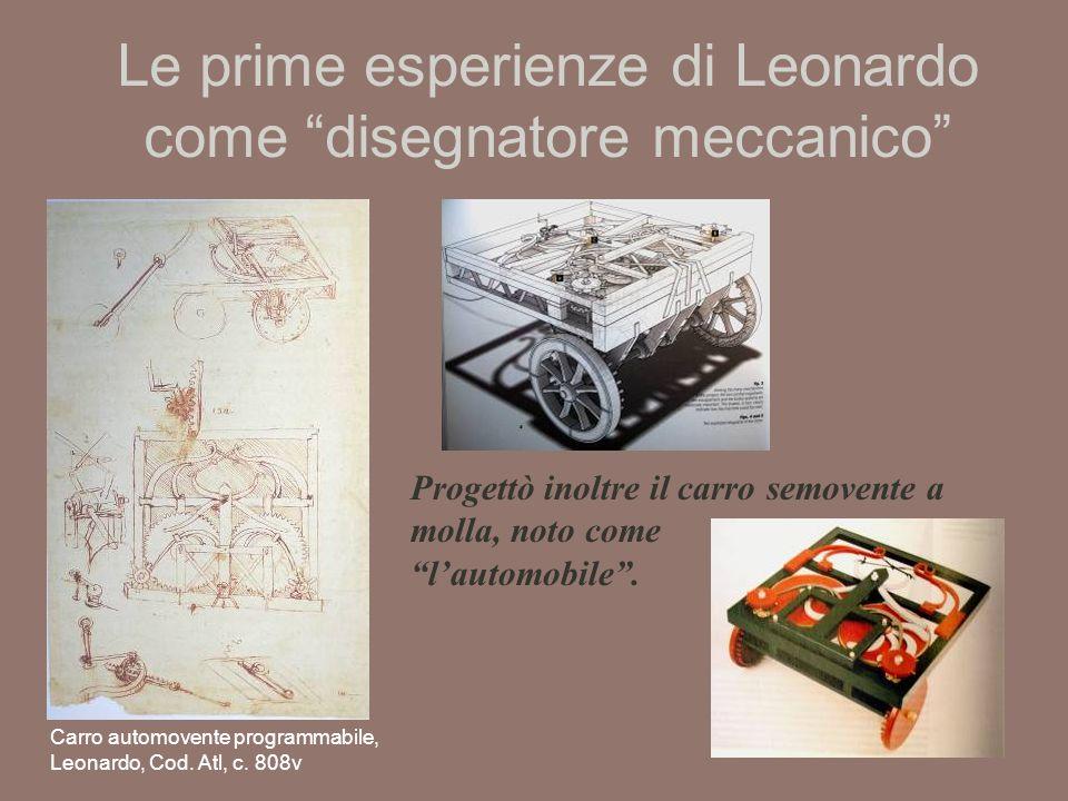 Le prime esperienze di Leonardo come disegnatore meccanico Carro automovente programmabile, Leonardo, Cod.