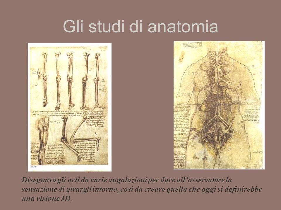 Gli studi di anatomia Disegnava gli arti da varie angolazioni per dare allosservatore la sensazione di girargli intorno, così da creare quella che oggi si definirebbe una visione 3D.