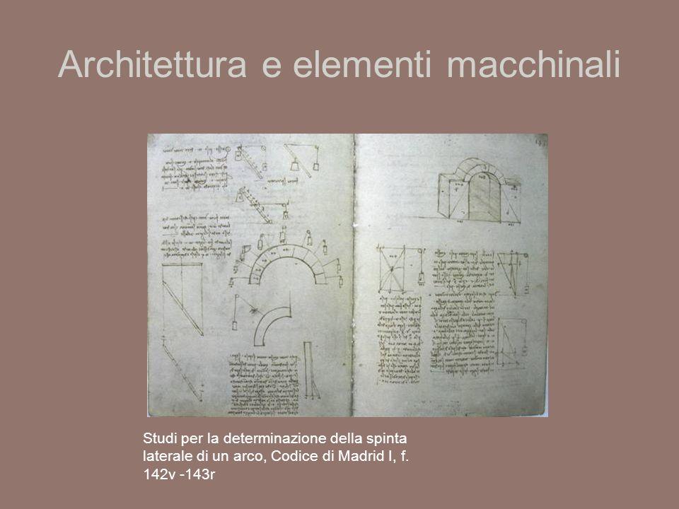 Architettura e elementi macchinali Studi per la determinazione della spinta laterale di un arco, Codice di Madrid I, f.