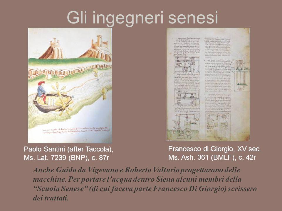 Gli ingegneri senesi Paolo Santini (after Taccola), Ms.
