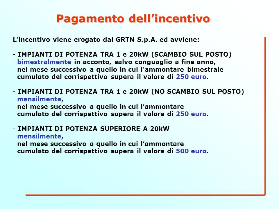 Pagamento dellincentivo Lincentivo viene erogato dal GRTN S.p.A.