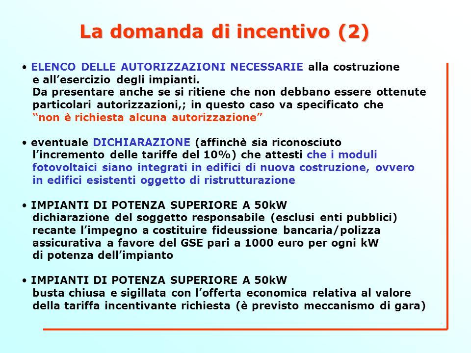 La domanda di incentivo (2) ELENCO DELLE AUTORIZZAZIONI NECESSARIE alla costruzione e allesercizio degli impianti.