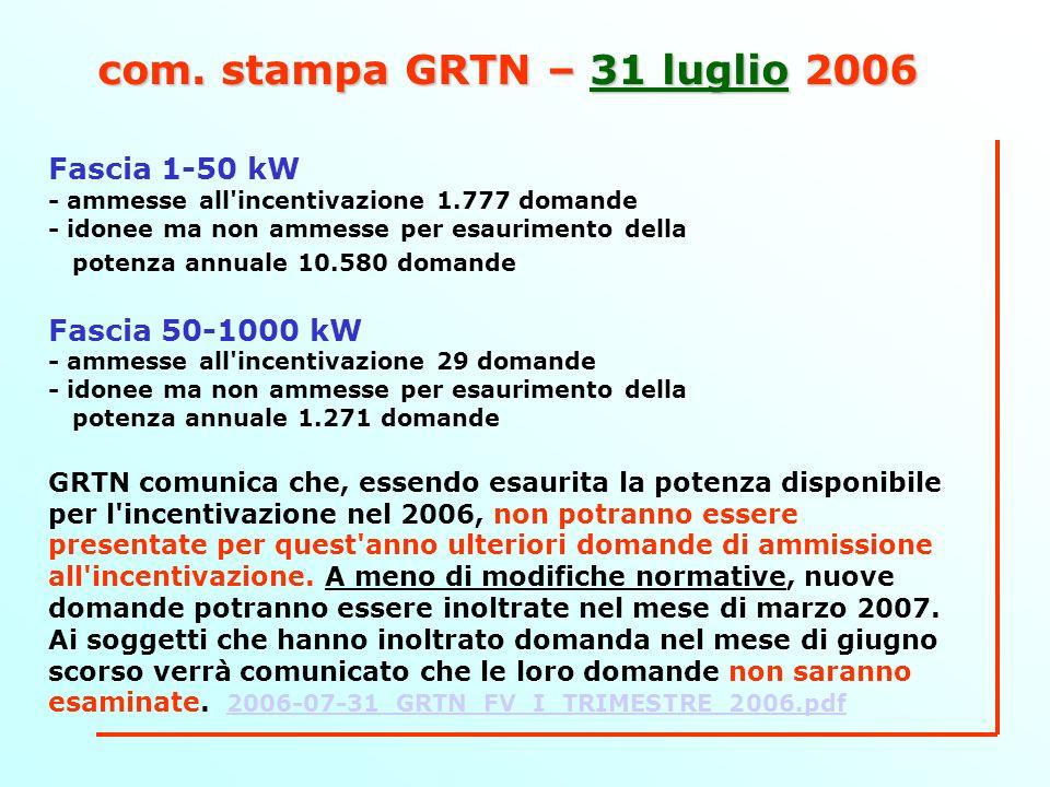 com. stampa GRTN – 31 luglio 2006 Fascia 1-50 kW - ammesse all'incentivazione 1.777 domande - idonee ma non ammesse per esaurimento della potenza annu