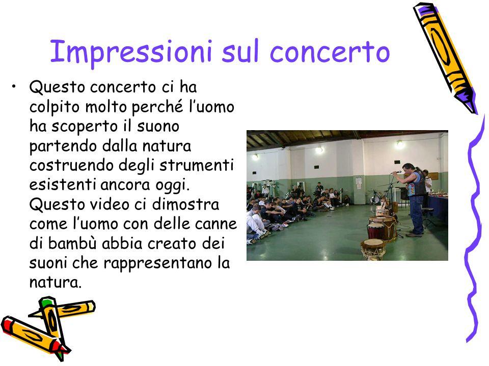 Impressioni sul concerto Questo concerto ci ha colpito molto perché luomo ha scoperto il suono partendo dalla natura costruendo degli strumenti esiste
