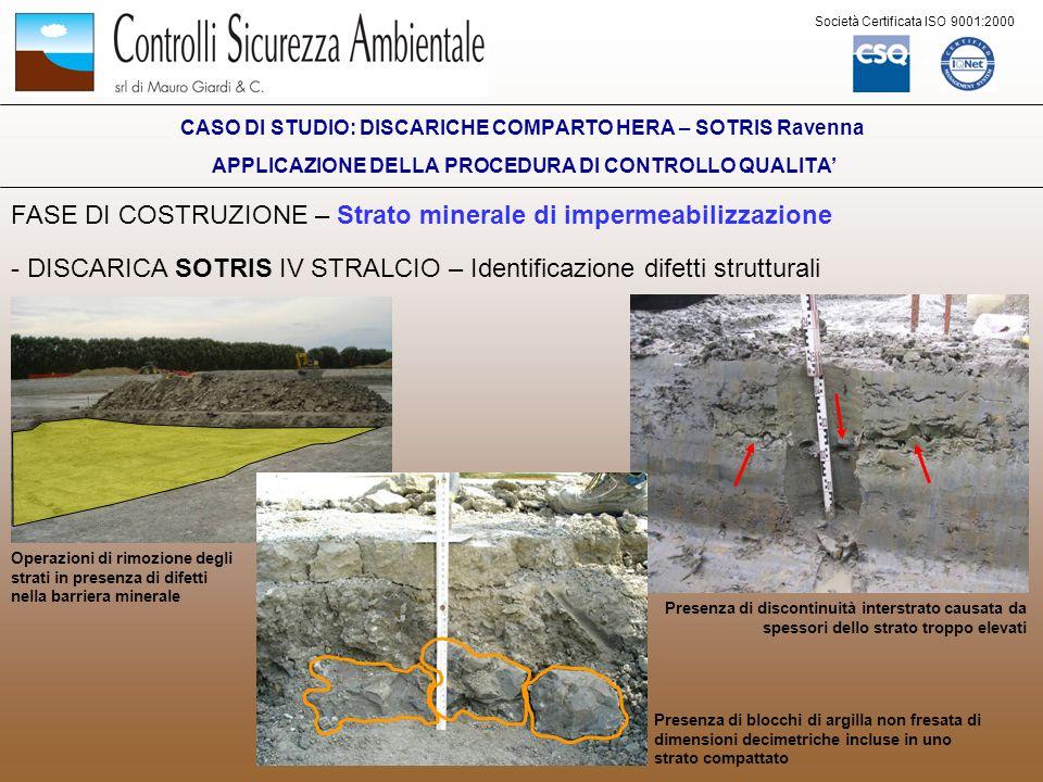 Società Certificata ISO 9001:2000 FASE DI COSTRUZIONE – Strato minerale di impermeabilizzazione - DISCARICA SOTRIS IV STRALCIO – Identificazione difet