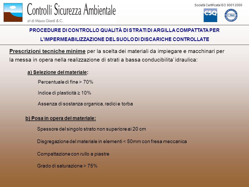 Società Certificata ISO 9001:2000 PROCEDURE DI CONTROLLO QUALITÀ DI STRATI DI ARGILLA COMPATTATA PER LIMPERMEABILIZZAZIONE DEL SUOLO DI DISCARICHE CONTROLLATE Il Programma di Controllo Qualità si articola in: FASE DI PROGETTO FASE DI COSTRUZIONE Accertamento dellidoneità del materiale Campo prova Preparazione della superficie di posa Costruzione dello strato minerale di impermeabilizzazione