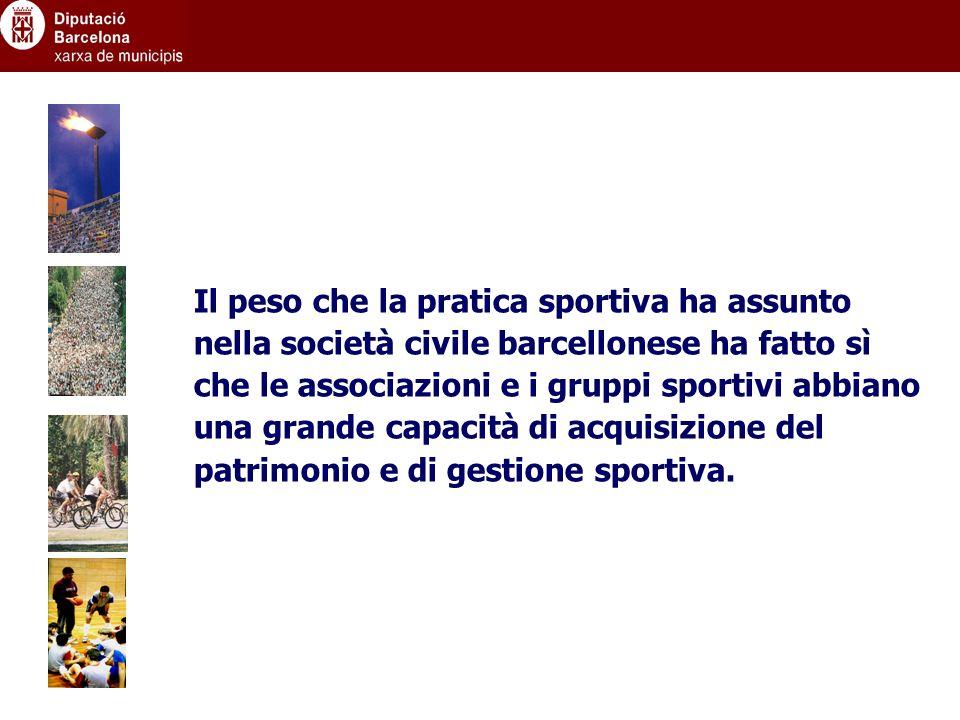 Il peso che la pratica sportiva ha assunto nella società civile barcellonese ha fatto sì che le associazioni e i gruppi sportivi abbiano una grande capacità di acquisizione del patrimonio e di gestione sportiva.
