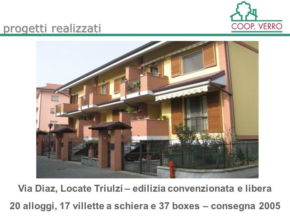 progetti realizzati Via Diaz, Locate Triulzi – edilizia convenzionata e libera 20 alloggi, 17 villette a schiera e 37 boxes – consegna 2005