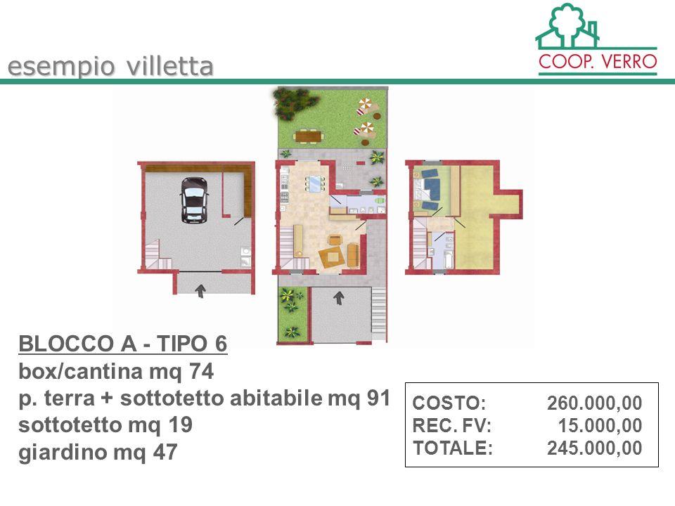 esempio villetta BLOCCO A - TIPO 6 box/cantina mq 74 p.