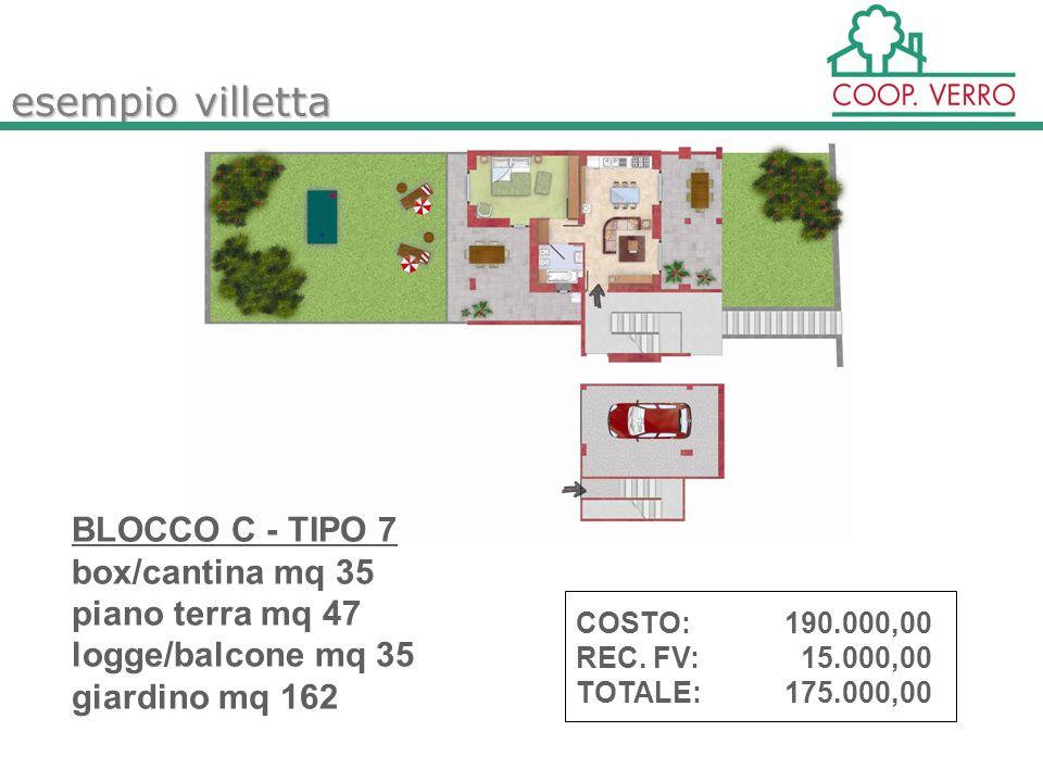 esempio villetta BLOCCO C - TIPO 7 box/cantina mq 35 piano terra mq 47 logge/balcone mq 35 giardino mq 162 COSTO:190.000,00 REC.