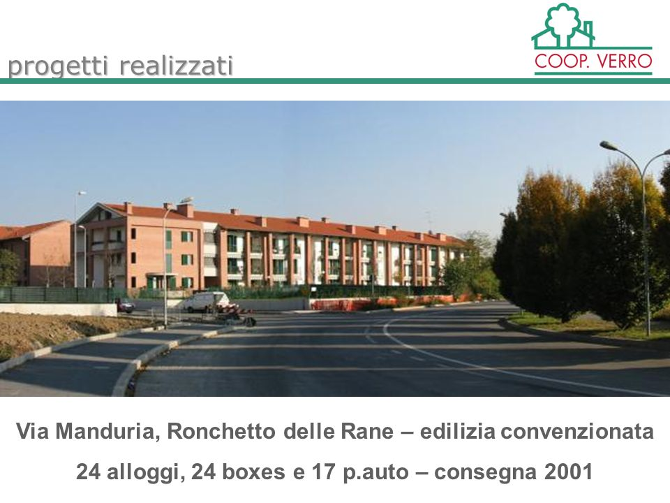 progetti realizzati Via Manduria, Ronchetto delle Rane – edilizia convenzionata 24 alloggi, 24 boxes e 17 p.auto – consegna 2001
