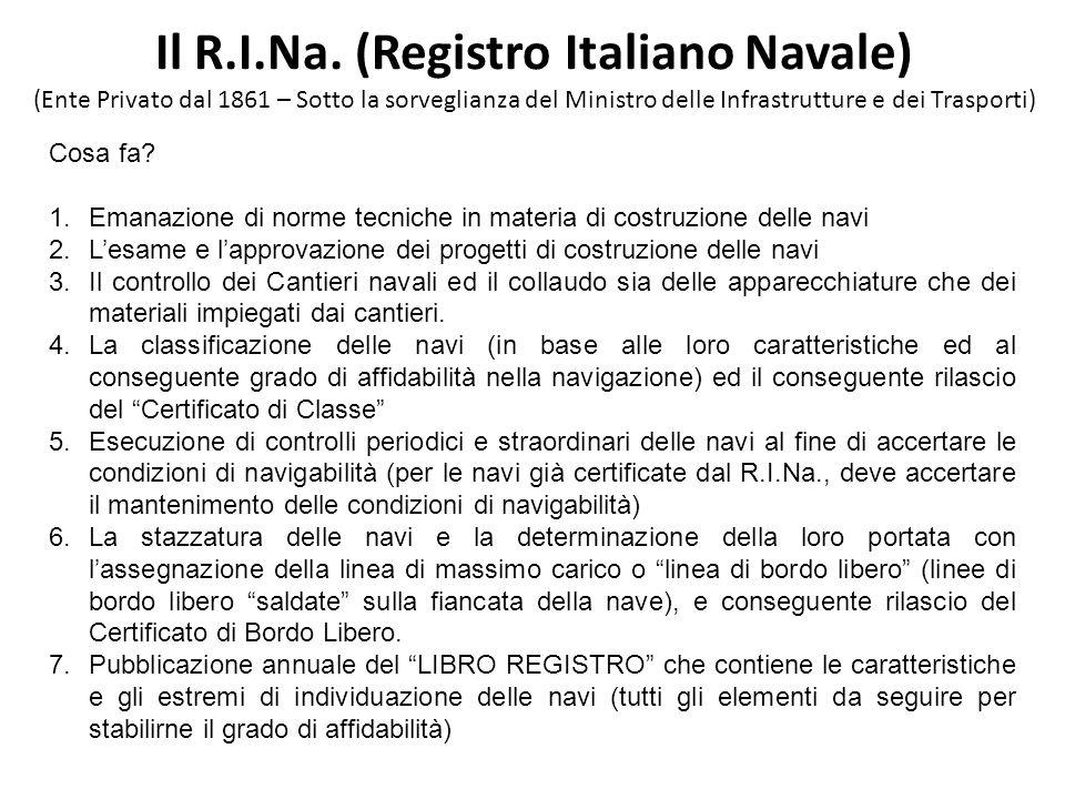 Il R.I.Na. (Registro Italiano Navale) (Ente Privato dal 1861 – Sotto la sorveglianza del Ministro delle Infrastrutture e dei Trasporti) Cosa fa? 1.Ema